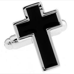 Cross Cufflinks (Black)