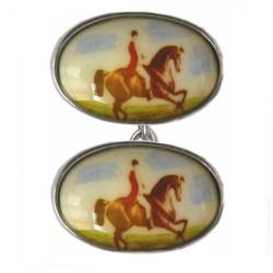Sterling Silver Horse & Jockey Enamel Double Chain Cufflinks