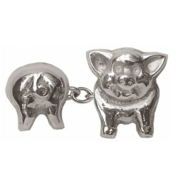 Sterling Silver Pig Head & Tail Double Chain Cufflinks