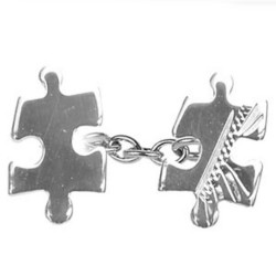Sterling Silver Jigsaw Engraved & Plain Double Chain Cufflinks