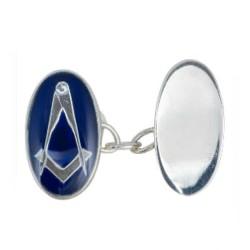 Sterling Silver Blue Enamel Masonic Cufflinks