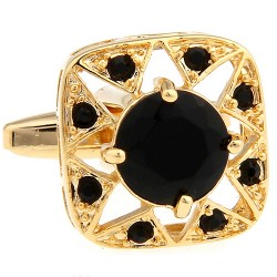 Black and Gold Crystal Cufflinks