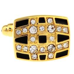 Black / Gold Crystal Cufflinks