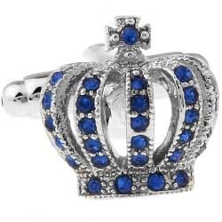 Blue Crystal Crown Cufflinks