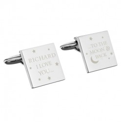 Personalised 'To the Moon and Back' Square Cufflinks